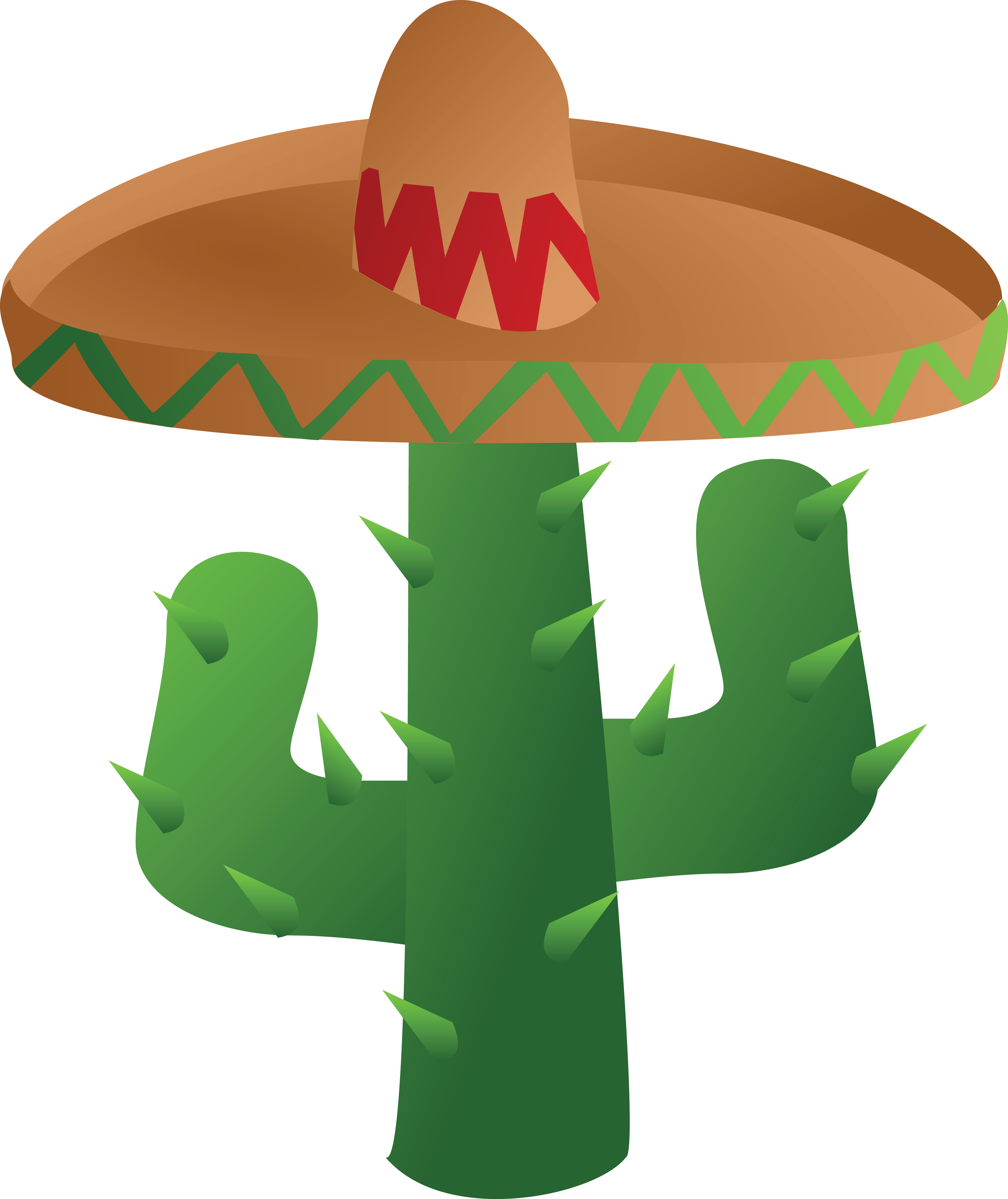 4000x4756 Free Clipart Of A Mexican Cactus Wearing A Sombrero Hat
