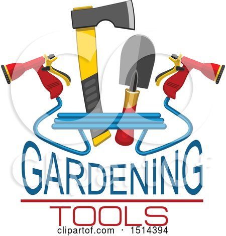450x470 Clipart Of A Hatchet, Hand Spade And Spray Nozzles With Gardening