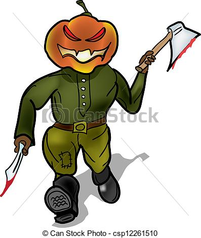 397x470 Pumpkin Murderer Escapes With A Knife And A Hatchet Vector Clip