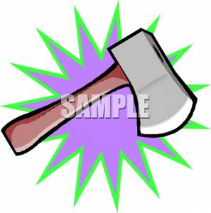 297x300 A Hatchet With A Purple Starburst Pattern Clipart Image