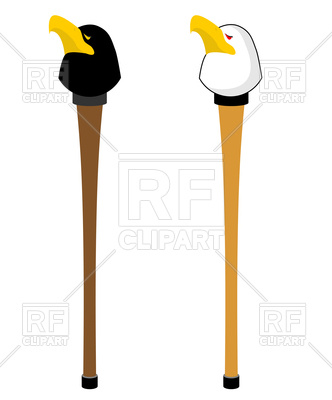 332x400 Walking Stick With Hawk Head Royalty Free Vector Clip Art Image
