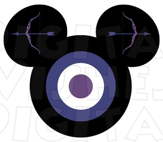 570x495 Hawkeye Avengers Mickey Mouse Head Digital Iron On Transfer Clip