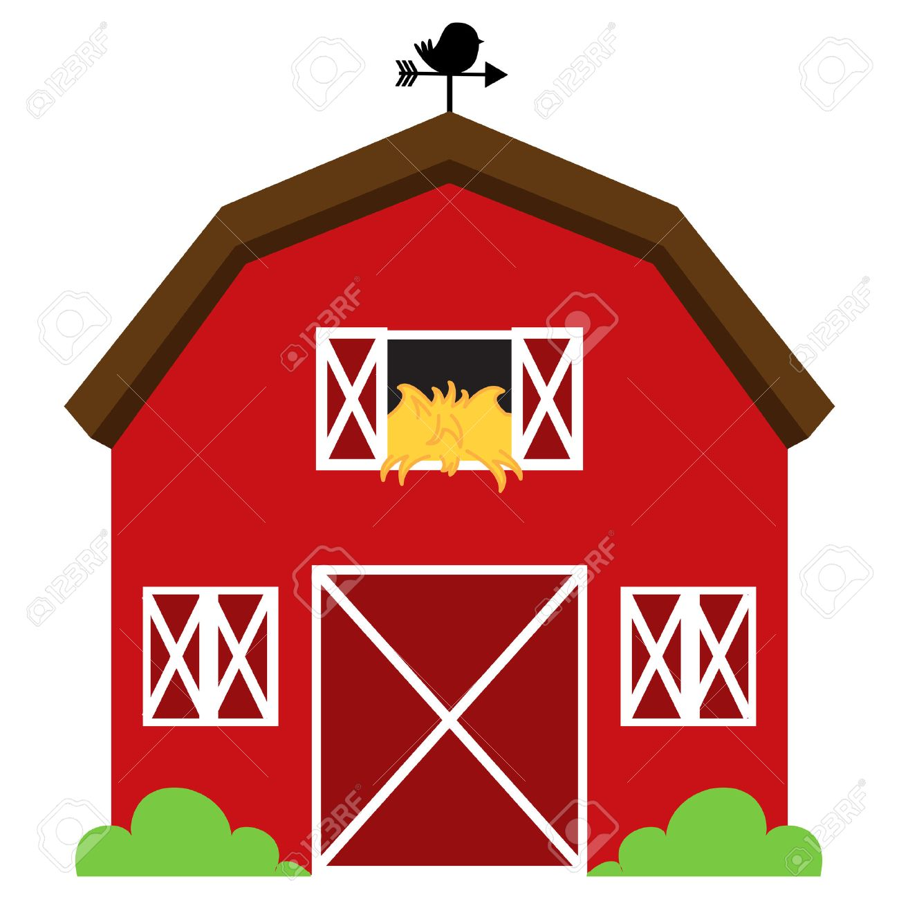 1300x1300 Farm Barn Clipart 29965913 Cute Red Vector Barn With Hay Weather