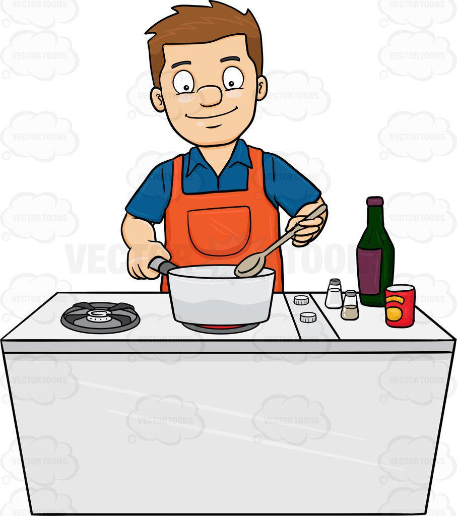 907x1024 A Man Looks Happy At The Yummy Dish He Is Cooking Cartoon Clipart