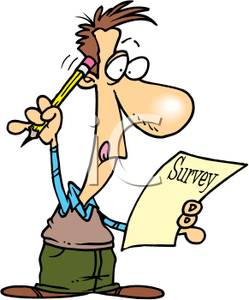 249x300 A Man Scratching His Head As He Takes A Survey Clip Art Image