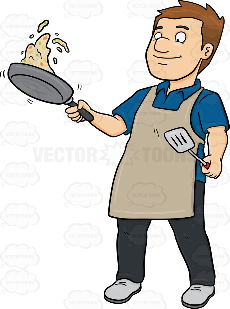 762x1024 A Man Expertly Tosses The Food He Cooked On A Pan Cartoon Clipart