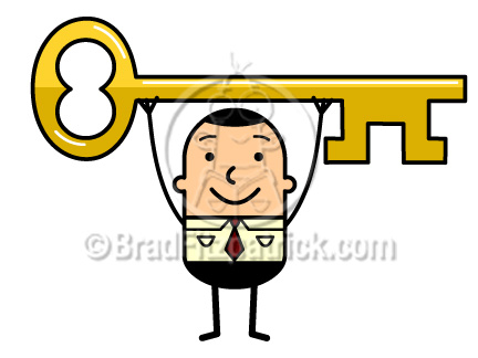 432x324 Cartoon Business Man Holding A Key Above His Head Clip Art