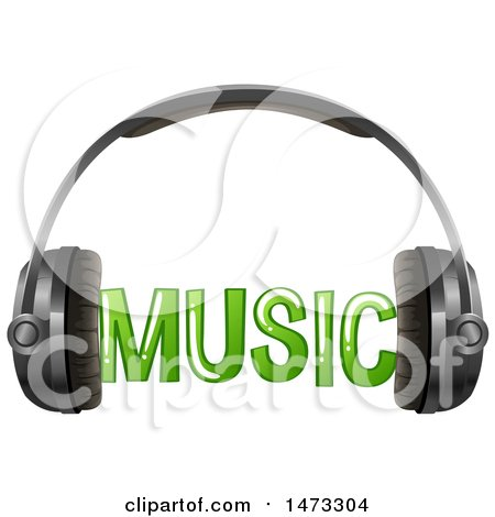 450x470 Clipart Of A Pair Of Headphones And Music Text