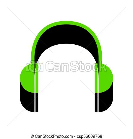450x470 Headphones Sign Illustration. Vector. Green 3d Icon With Clip