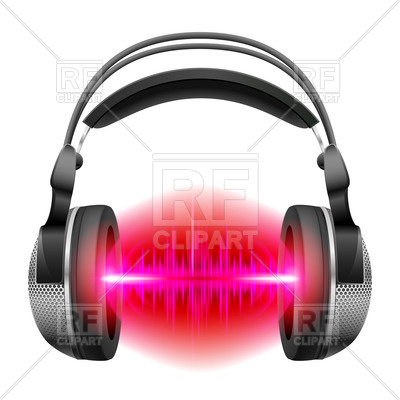 400x400 Headphones With Red And Purple Sound Waves Royalty Free Vector
