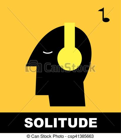 411x470 Solitude. Me Time. Human Head With Headphones Set. Introvert Clip