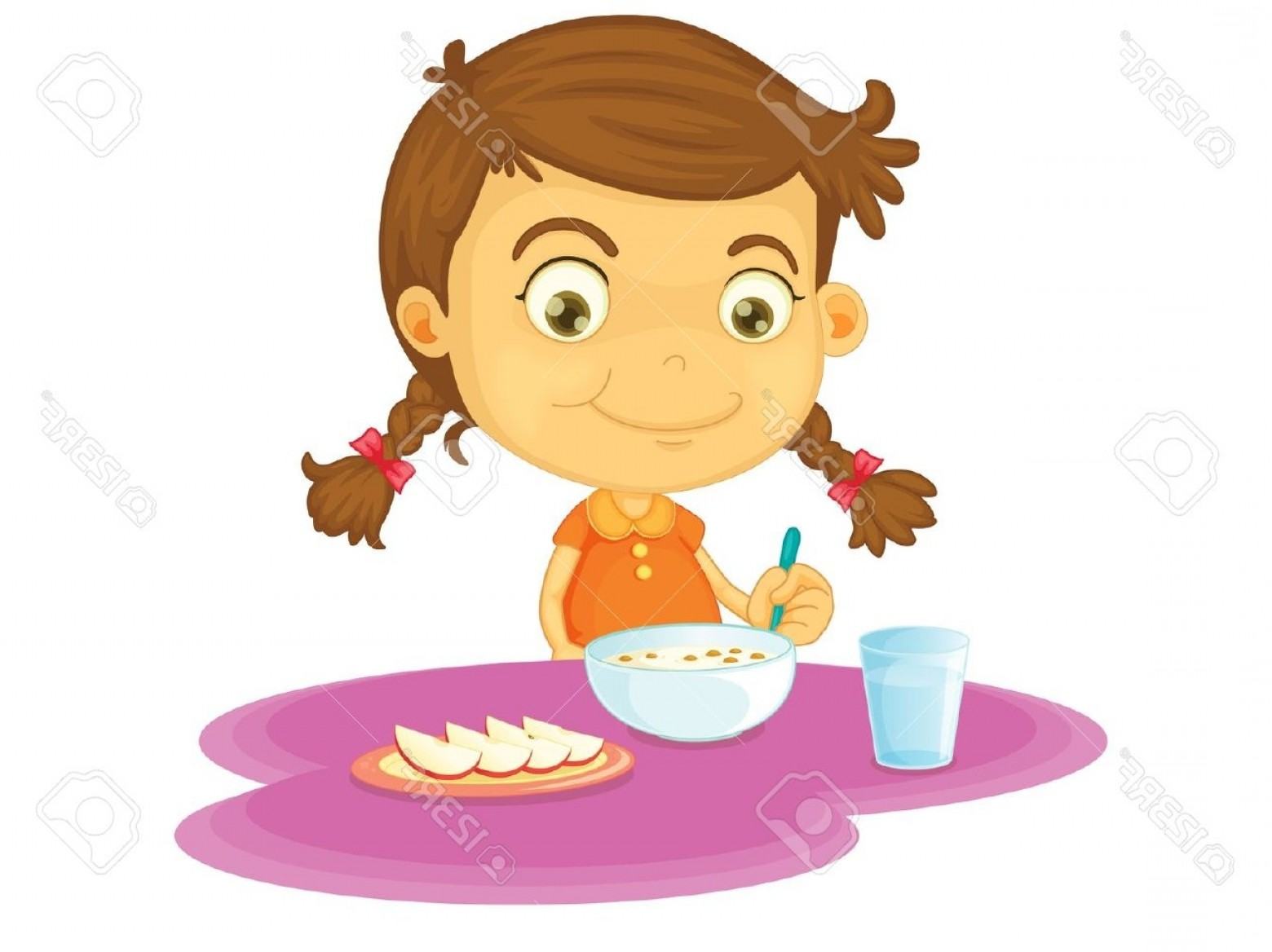 1560x1168 Child Eating Breakfast Clipart