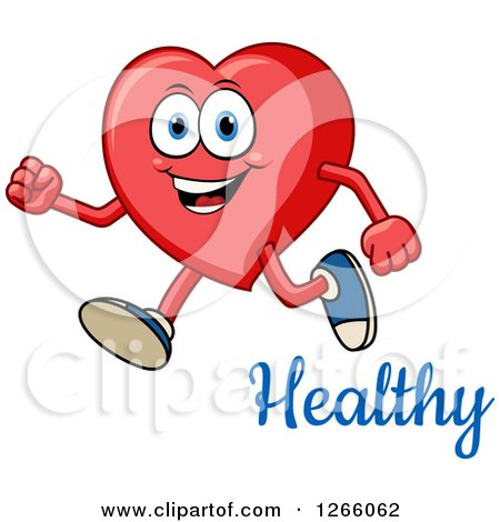 450x470 Clipart Of A Happy Heart Character Running Over Healthy Text
