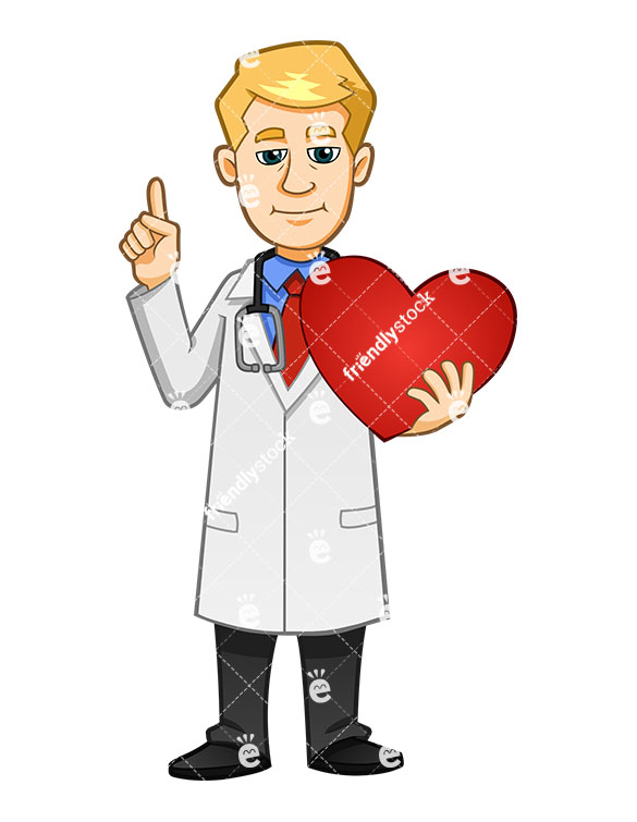 585x755 Doctor Smiling While Holding Healthy Heart And Pointing Up