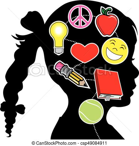 446x470 Healthy Mind Girl. Vector Illustration Of A Young Girl
