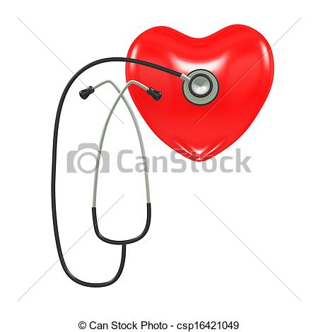 450x470 3d Stethoscope And Healthy Heart. 3d Illustration Of 3d