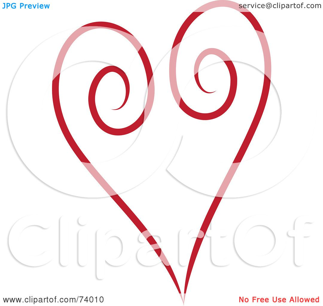 1080x1024 Royalty Free (Rf) Clipart Illustration Of A Red Swirl Heart Design