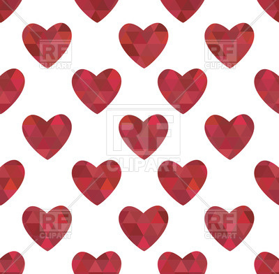 400x392 Seamless Pattern With Red Hearts In Crystalline Style Royalty Free