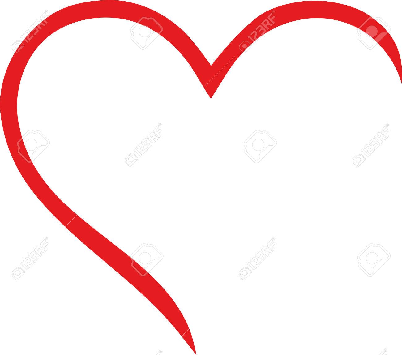 1300x1148 Vector Heart Outline Clipart