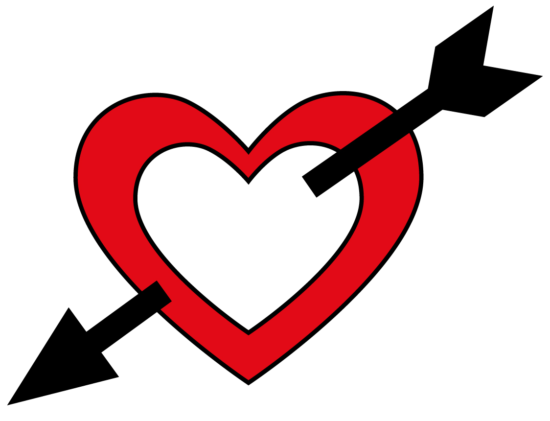 1124x860 Heart With Arrow Clipart