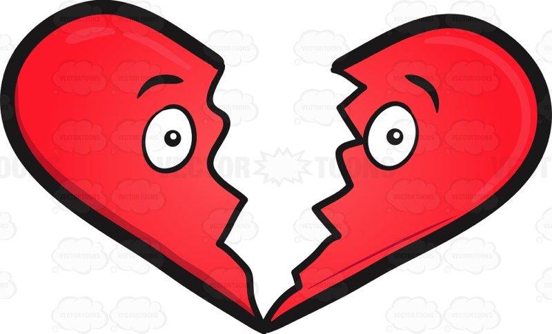 800x484 Broken Heart Emoji Cartoon Clipart Vector Toons