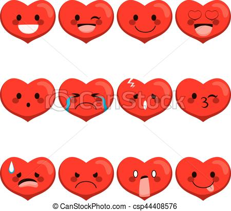 450x411 Heart Emoji Expressions. Set Collection Of Different Heart
