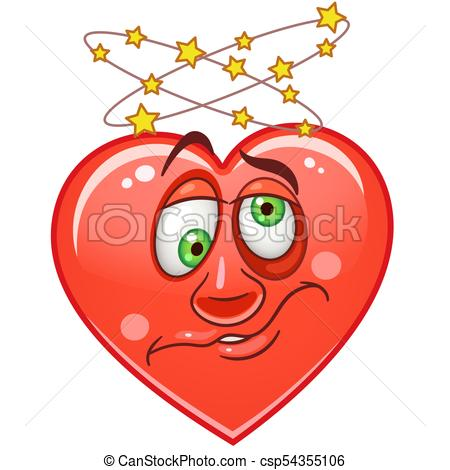 450x470 Heart Emoticons Smiley Emoji. Cartoon Red Heart With Dizzy