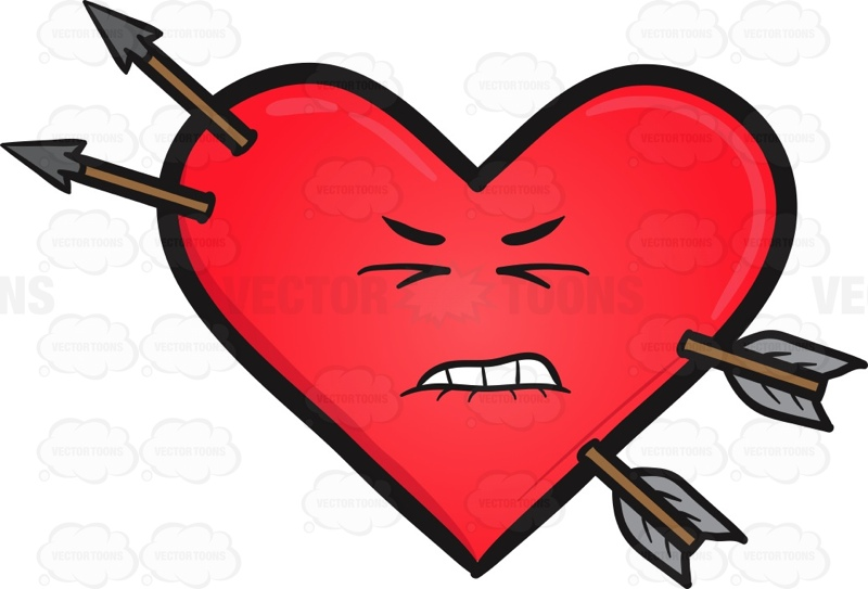 800x543 Hurt Heart And Arrows Emoji Cartoon Clipart Vector Toons