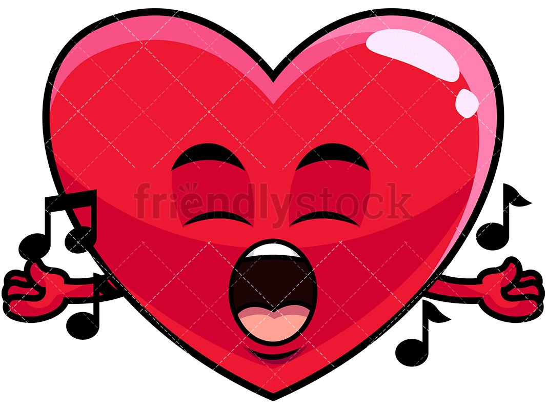 1067x800 Singing Heart Emoji Cartoon Vector Clipart
