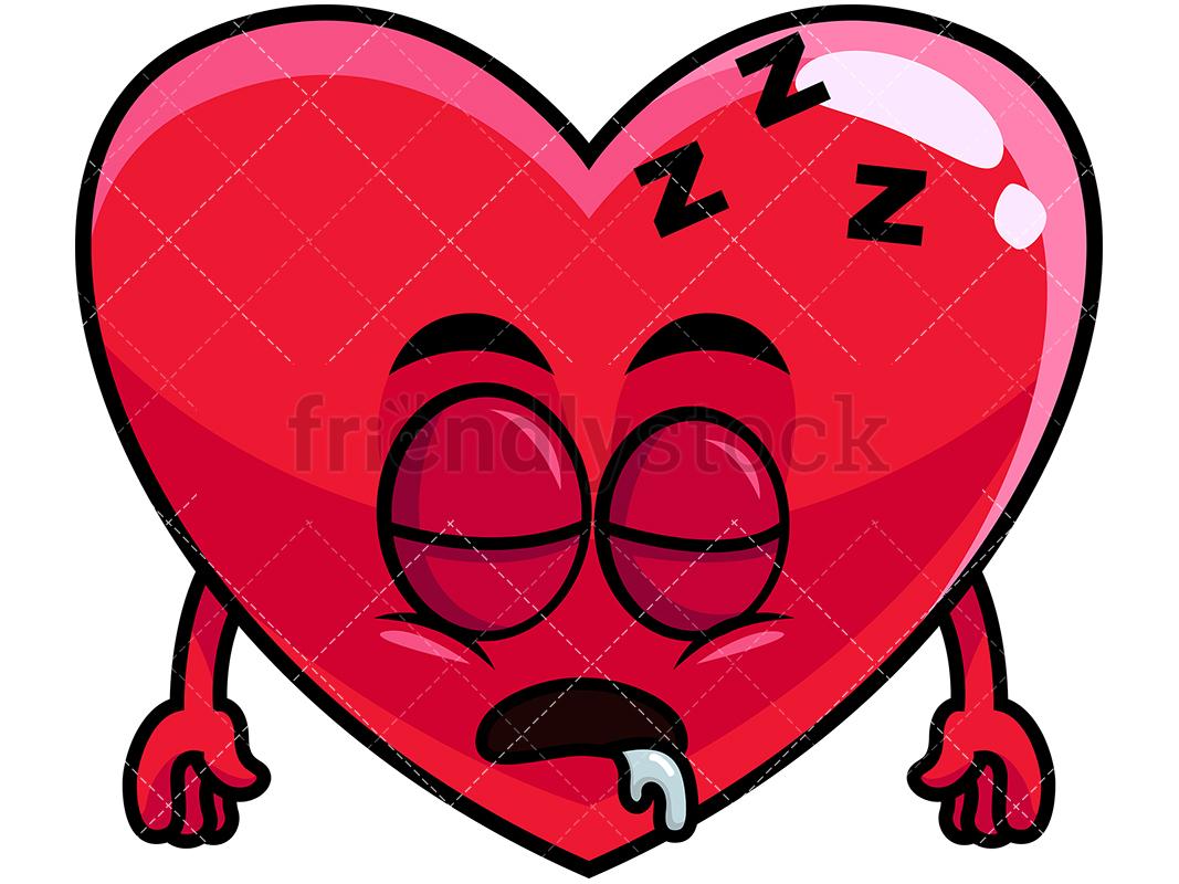 1067x800 Sleeping Heart Emoji Cartoon Vector Clipart