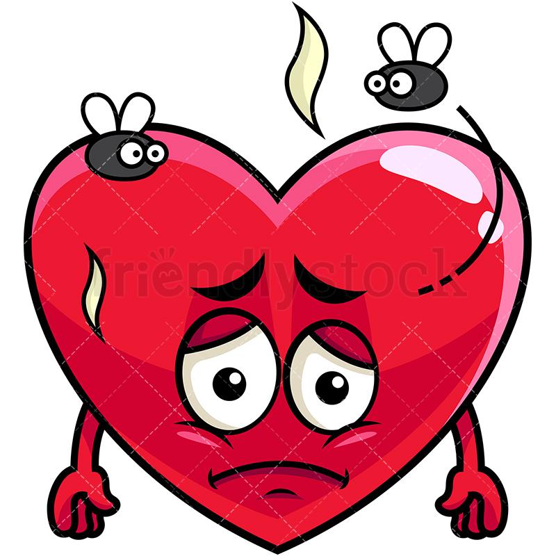 800x800 Stinky Heart Going Bad Emoji Cartoon Vector Clipart