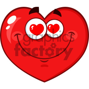 300x300 Royalty Free Infatuated Red Heart Cartoon Emoji Face Character