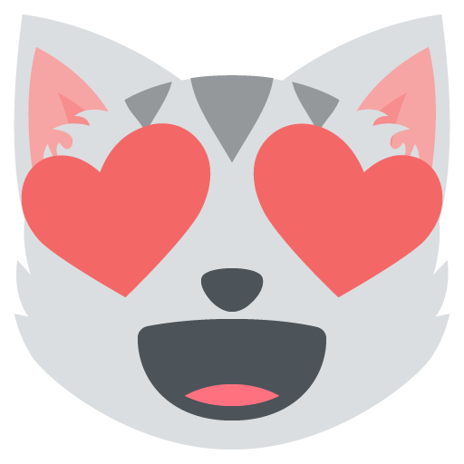 512x512 Smiling Cat Face Heart Shaped Eyes Emoji Vector Icon Free