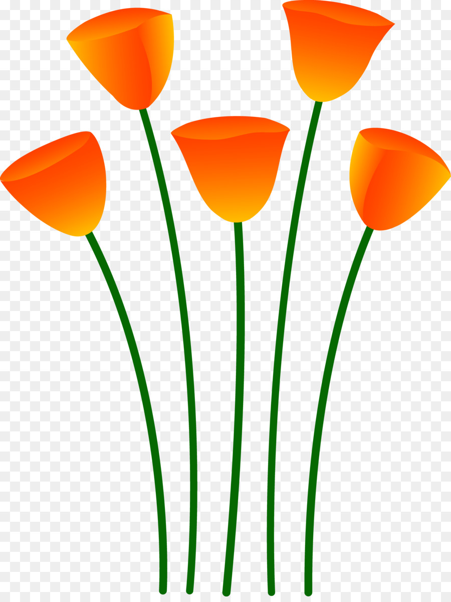 900x1200 Flower Poppy Orange Clip Art