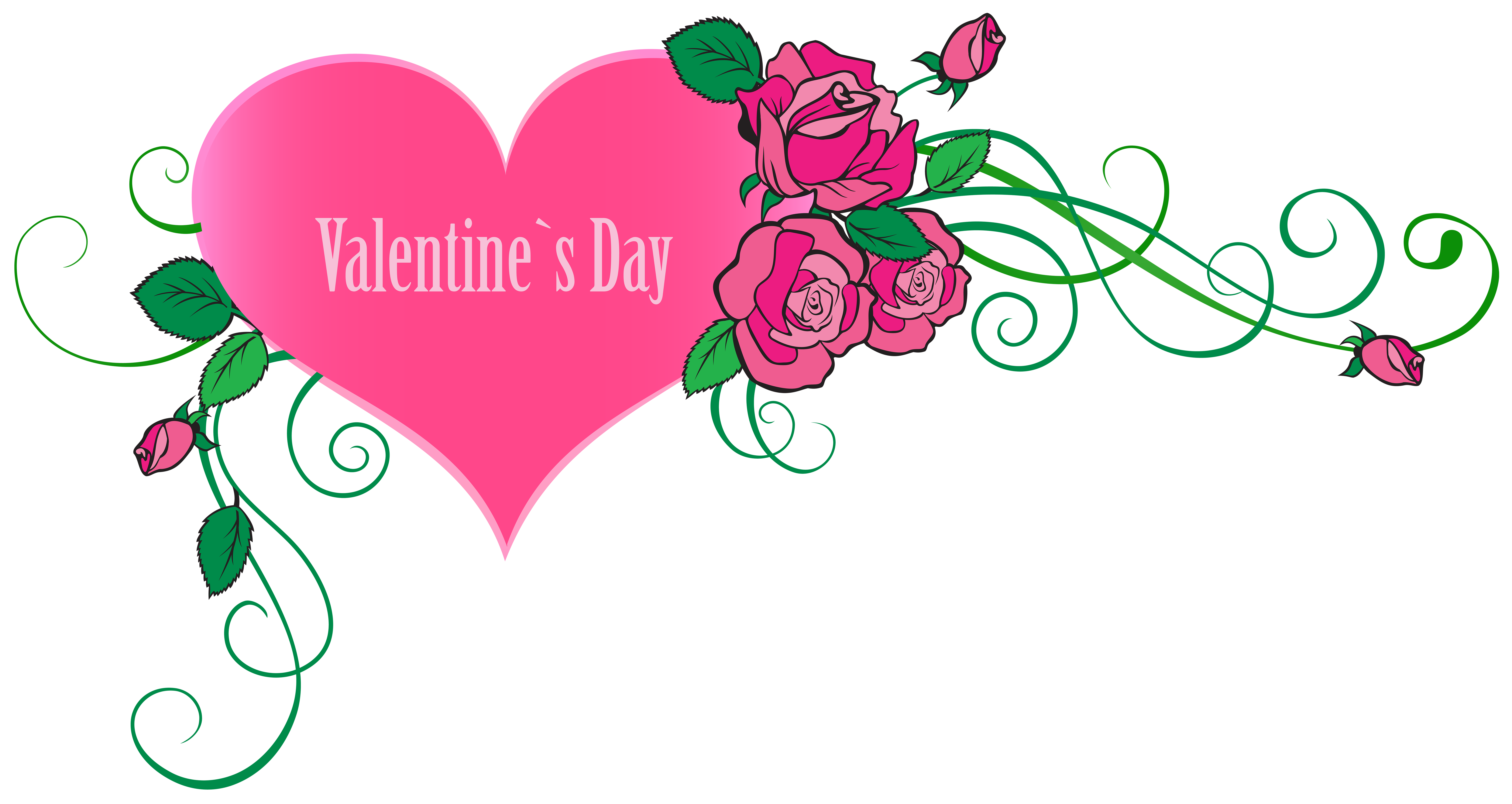 8000x4253 Happy Valentine#39s Day Heart with Roses Transparent PNG Clip Art