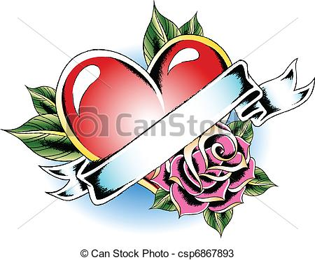 450x371 Heart Flower Tattoo Vectors