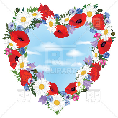 400x400 Heart shaped floral frame made of poppy and camomiles Royalty Free