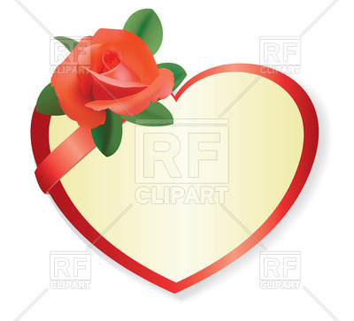 400x363 Red Heart With Beautiful Rose Royalty Free Vector Clip Art Image