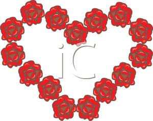 300x237 Clip Art Image Red Roses In A Heart Shape