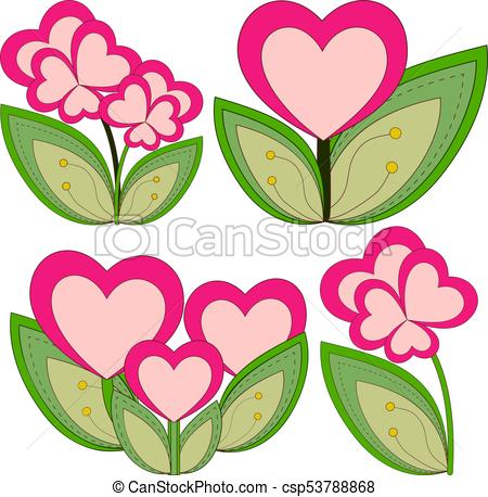 450x458 Colorful Heart Flower Plant Collection Set Isolated On White