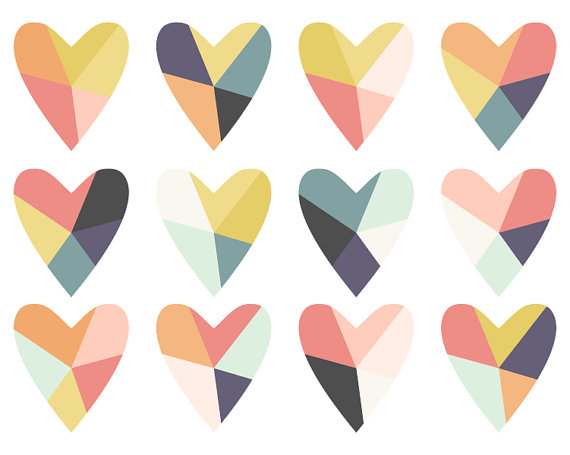 570x455 Geometric Clip Art Fractured Heart Digital Clip Art Instant
