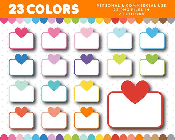 570x456 Half Heart Box Clipart, Half Sticker Box Clip Art, Planner Box