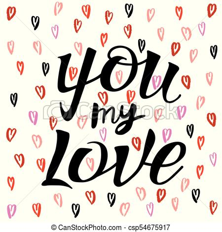 450x470 Letters Calligraphy, On Love Heart Pattern. Letters Hand Vector
