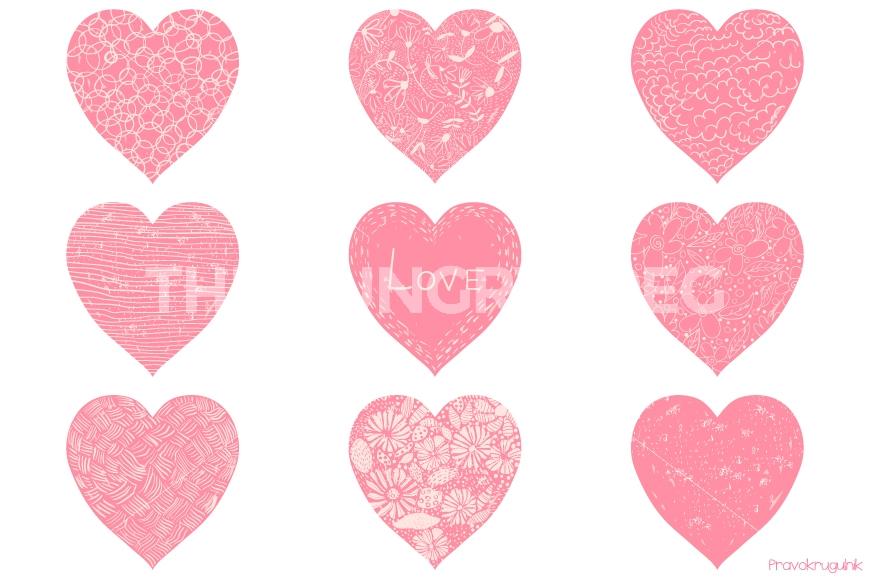 870x579 Pink Valentine Hearts Clipart, Romantic Valentine Clip Art, Hand