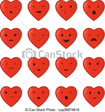 441x470 Vector Illustration Of The Set Collection Of Cartoon Heart