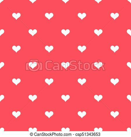 450x470 White Hearts On Red Background Pattern. Vector Illustration
