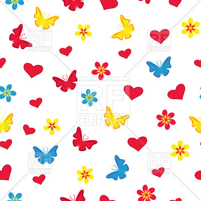400x400 White Seamless Pattern With Silhouettes Of Butterflies, Flowers