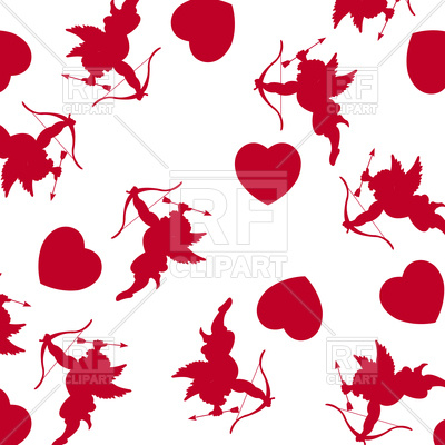 400x400 Cupids And Hearts Background Royalty Free Vector Clip Art Image