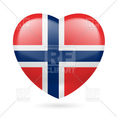 400x400 Heart With Norwegian Flag Colors. I Love Norway Royalty Free