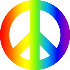 236x236 Free Clip Art Of A Rainbow Peace Sign With Hearts, Stars,
